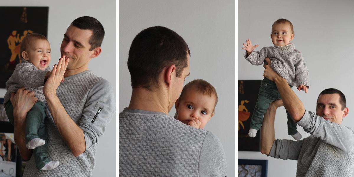Triptyque complicité papa bébé
