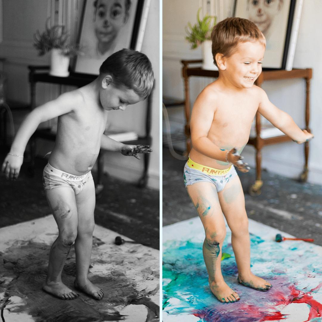 Diptyque bébé danse atelier peinture