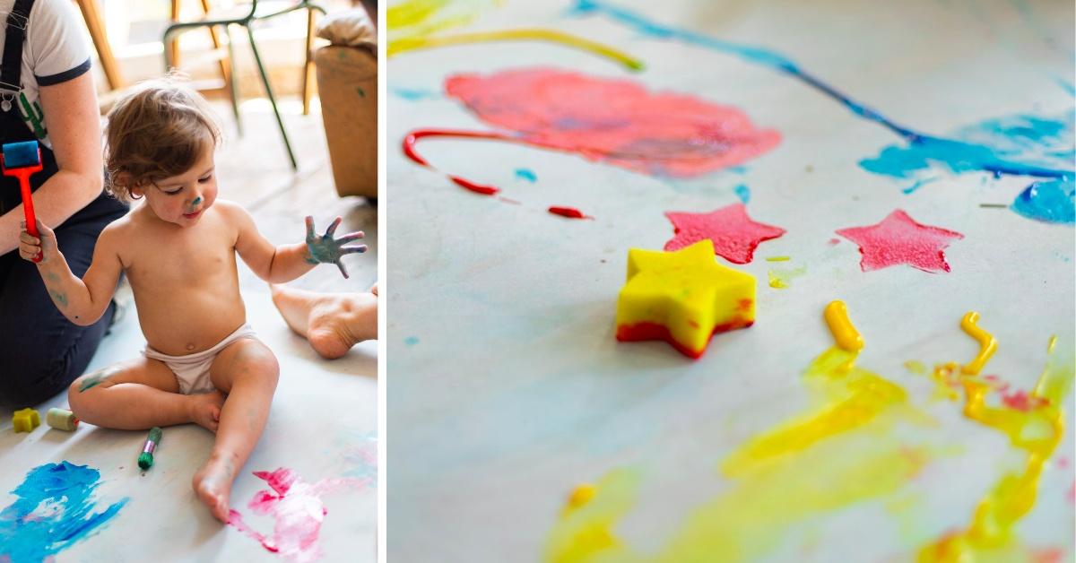 Diptyque atelier peinture pour bébé