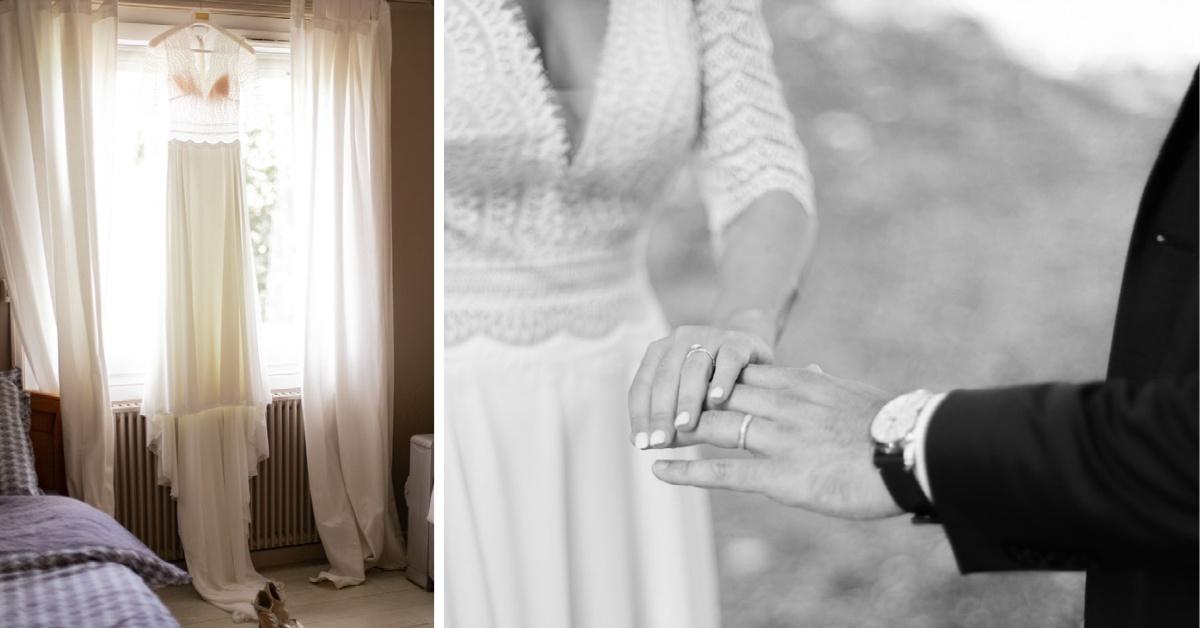 Mariage Lyon diptyque robe mariée - alliances