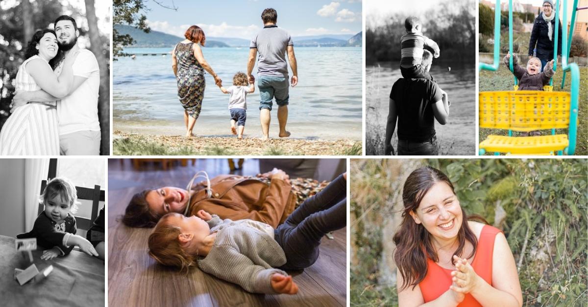 Collage de photos de famille et couple